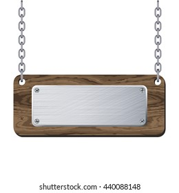 Metal plate on wooden plank hanging on chain isolated on white background. Vector illustration.