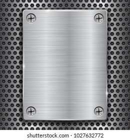Metal plate with screws on perforated texture. Vector 3d illustration