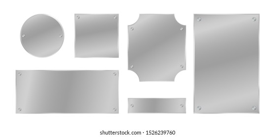 Metal plates with rivets set. Silver colored badges. Vector design elements