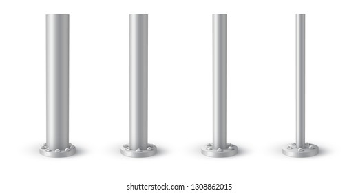 Metal pole bolted on round base. Set of metal poles with different diameters. Steel footings for road sign, banner or billboard.