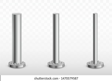 Metal pole pillars set, steel pipes of different diameters bolted on round base isolated on transparent background. Cylinder footings for road sign, banner, billboard. Realistic 3d vector illustration