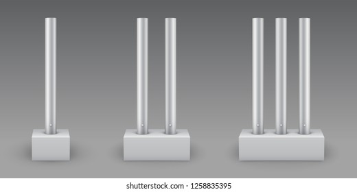 Metal poles with concrete bases. Steel pipes on footings for road sign, banner, light or billboard. Vector illustration for colored, white or transparent background. Elements of steel truss.