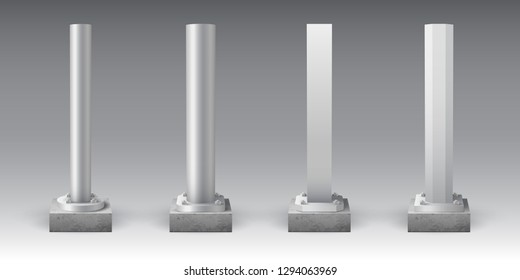 Metal poles on concrete bases. Steel footings for road sign, banner or billboard. Anchor base light pole. Street advertising construction elements.