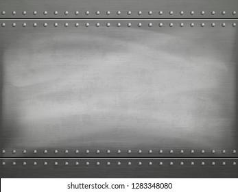 Metallpolierter Teller mit Kratzern. Vektorstahlhintergrund.