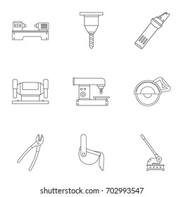 Metal processing profession icon set. Outline set of 9 metal processing profession vector icons for web isolated on white background