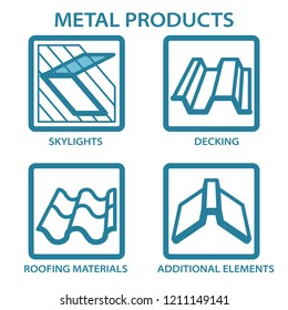 Metal products for the home. Icons. Roof window, skylight, dormer, decking, roofing materials, additional elements.