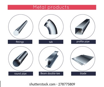 Metal profile and tubes. Rolled metal products vector icons set.