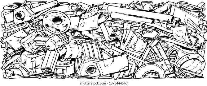 Metal recycling background. Scrap Metal. Cartoon Illustration