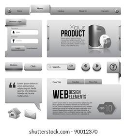 Metal Ribbons Website Design Elements: : Buttons, Form, Slider, Scroll, Icons, Tab, Menu, Navigation Bar