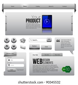 Metal Ribbons Website Design Elements 2: Buttons, Form, Slider, Scroll, Icons, Tab, Menu, Navigation Bar