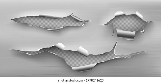 Metal rip holes with curly edges, ragged cracks, cut damage on steel sheet. Torn slash, gun aperture design element isolated on transparent background Realistic 3d vector illustration, clip art