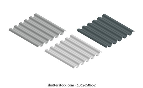 Metal roof, metal siding, Profiled sheeting for covering or fencing. Galvanized iron isometric sheets, vector icons. Corrugated roofing sheets isolated on white background. Black and white wavy slate.