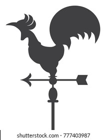 Metal rooster shaped weather vane sitting atop a pole