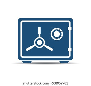 Metal safe box vector icon illustration on white background