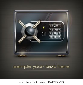 Metal safe isolated on black & text, vector illustration