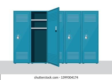 Metal school locker vector illustration isolated on white background