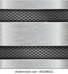 Metal scratched texture plates with perforation. Vector 3d illustration