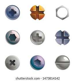 Metal screw head icon set. Cartoon set of 9 metal screw head vector icons for web design isolated on white background