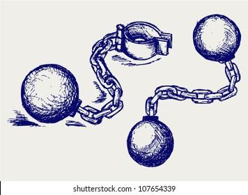 Metal shackles. Sketch