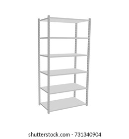 Metal shelving unit. Isolated on white background.3d Vector illustration.