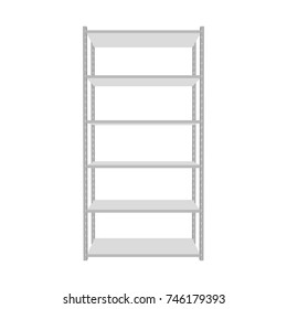 Metal shelving unit. Isolated on white background. 3d Vector illustration. Front view.