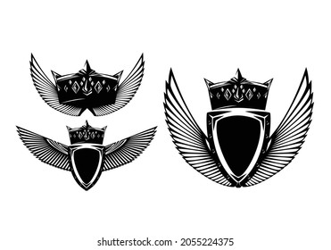 metal shield, king crown and stylized feathered wings spread wide - black and white vector security concept royal heraldic design set