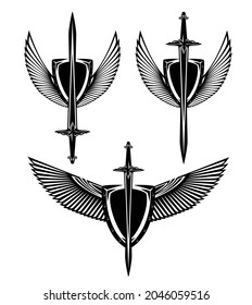 metal shield, knight sword and stylized feathered wings spread wide - black and white vector security concept heraldic design set