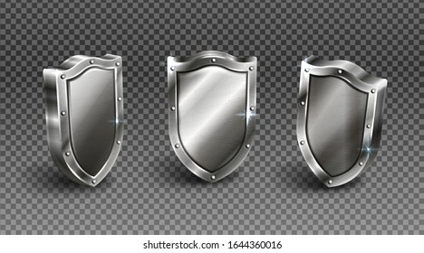Metal shield with rivet frame vector set, medieval knight ammo, silver metal guard with steel border award trophy, military armor front side view isolated on transparent background realistic 3d icon