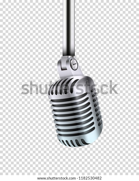 Metal shining microphone vector illustration. Vector object isolated on transparent background