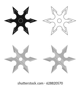 Metal shuriken icon cartoon. Single weapon icon from the big ammunition, arms set.