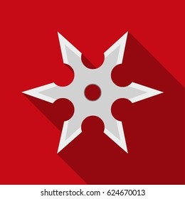 Metal shuriken icon flate. Single weapon icon from the big ammunition, arms set.