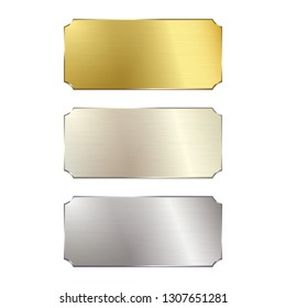 Metal signs, gold, silver and white gold