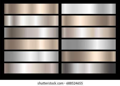 Metal silver, bronze and gold foil texture gradation template set. Vector golden elegant, shiny and metal gradient collection for silver or chrome border, frame, ribbon, label design