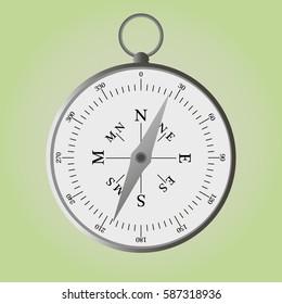 metal silver vector magnet compass