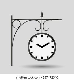 metal simple railway style clock vector object eps10