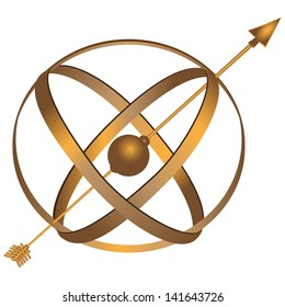 Metal spherical astrolabe used for basic navigation via the stars and sun. Vector illustration.