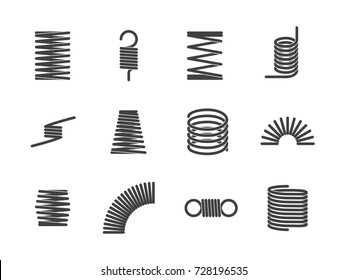 Metal spiral flexible wire elastic spring icons isolated on white background. Vector illustration