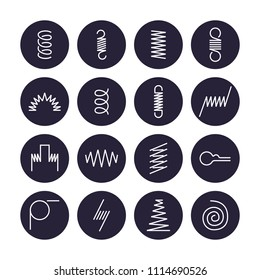 Metal spring flat line icons. Variety of flexible coil, elastic steel wire types. Thin signs in circle background, flexibility property. Editable Strokes.