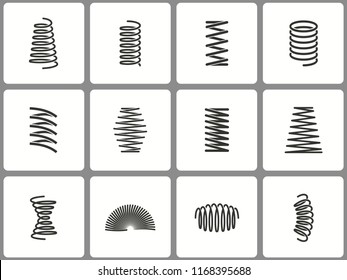 Metal spring icon set. Black vector illustrations isolated on white. Simple pictograms for graphic and web design.