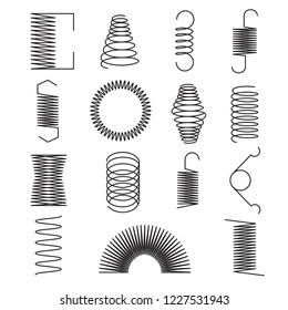 Metal spring icons. Flexible spiral lines, steel wire coils isolated vector symbols