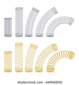 Metal Spring Vector. Spiral Flexible Wire. Metal Spiral. Coil Set. Jump Compression Icon Isolated Illustration