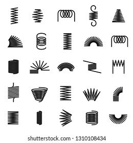 Metal springs. Twisted spiral, flexible coil wire suspension black spring vector line icons set