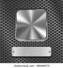Metal square button with rectangle plate on stainless steel perforated background. Vector 3d illustration