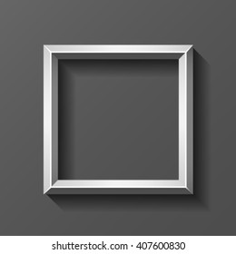 Metal square frame with bevel, vector.