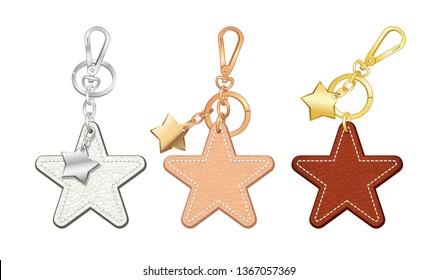metal star pendants key chains/ bag charms set, Star shaped key rings, vector illustration sketch template