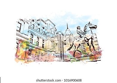 Metal Statue, Philadelphia City in Pennsylvania, USA. Watercolor splash with hand drawn sketch illustration in vector.