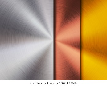 Metal steel, bronze and gold technology background with polished, circular brushed texture, silver, chrome, aluminum, copper for design concepts, wallpapers, web and prints. Vector illustration.