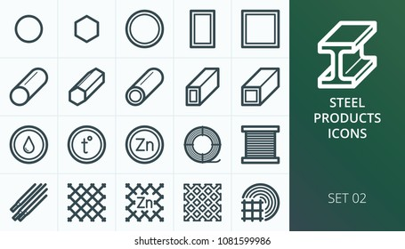 Metal and steel products icons set. Set of metal profile pipe, steel bars, rabitz mesh fence icons.