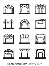 Metal structures icon set - vector illustration
