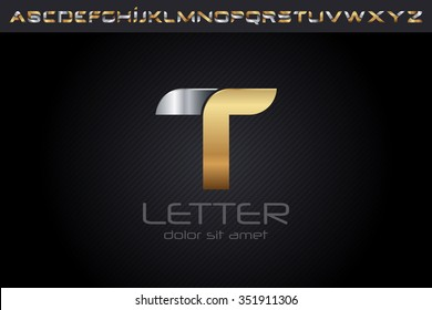 Metal T Letter Logo, alphabet logo design.